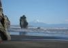 Sowas gibt es wohl nur hier: auf dem Strand stehen und schneebedeckte Vulkane sehen...