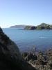 Die Bucht, ein Stueck Porirua-Harbour-Eingang und dahinter ein Stueck Kapiti Island
